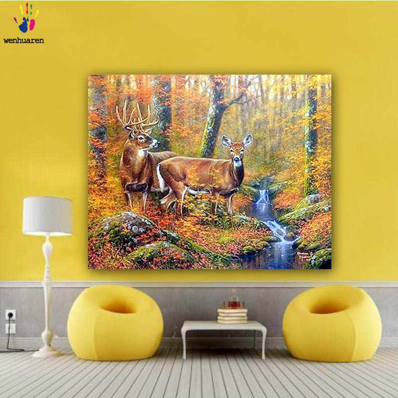 DIY colorings pictures by numbers with colors The deer picture drawing painting by numbers framed Home