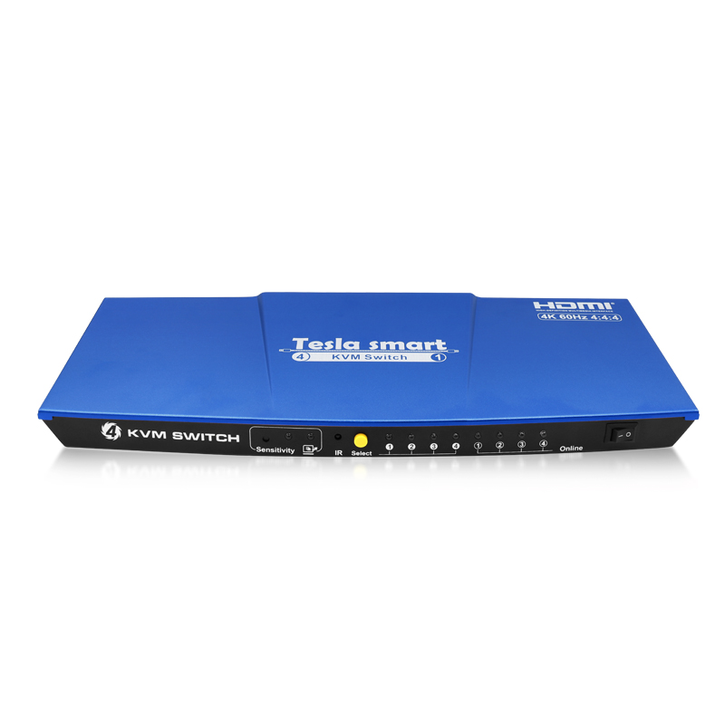 Blue Tesla smart HDMI 4K@60Hz High Quality USB HDMI KVM Switch 4 Port USB KVM HDMI Switch Support 4K*2K@60Hz Extra USB2.0 PortBlue Tesla smart HDMI 4K@60Hz High Quality USB HDMI KVM Switch 4 Port USB KVM HDMI Switch Support 4K*2K@60Hz Extra USB2.0 Port