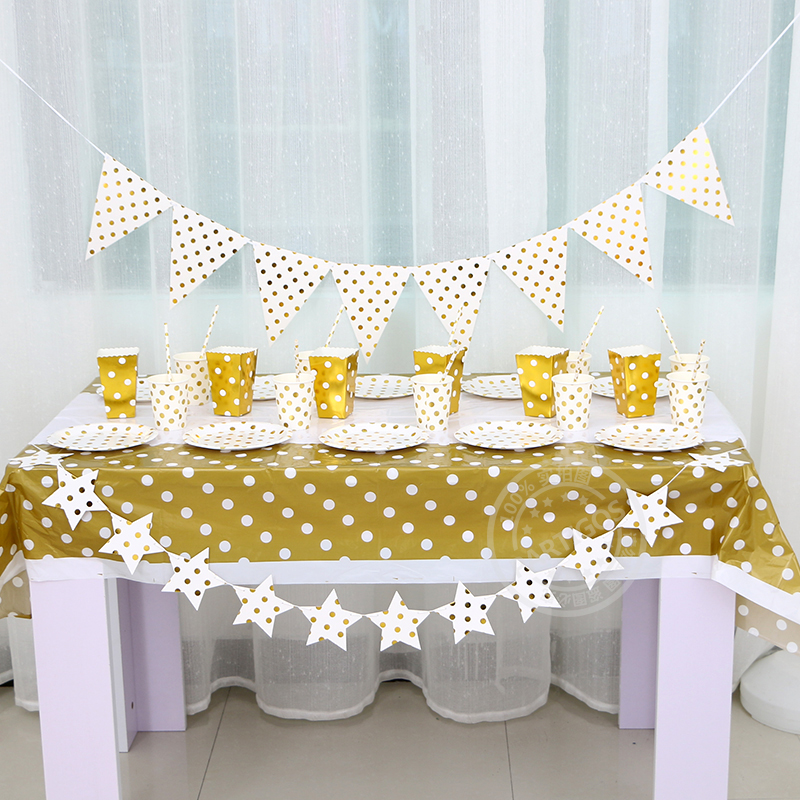 Gilding High End Disposable Gold Dot Tableware Plate Straw Banner Popcorn Bucket Birthday Party Decoration Baby Shower Supplies In