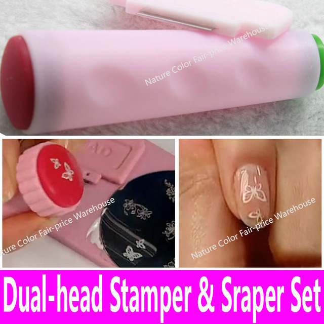 Dual Heads Nail Art Stamping Stamper Scraper Set Decoration Tool