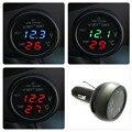3 en 1 Termómetro Del Voltímetro LED Digital car Auto Cargador de Coche USB 12 V/24 V Voltímetro Medidor de Temperatura Encendedor de cigarrillos