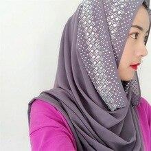 2019 Woman Scarf Solid Color Rhinestone Shining Sequins Chiffon Silk Popular Shawls Headband Muslim Scarves Free Shipping