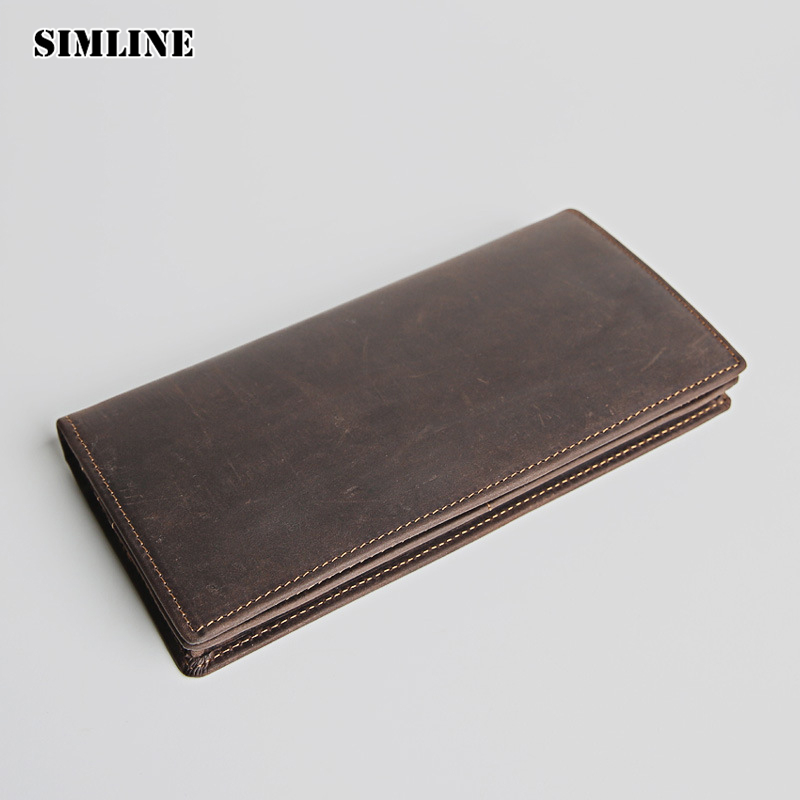 SIMLINE Vintage Genuine Crazy Horse Leather Cowhide Men Mens Long Wallet Wallets Purse Card Holder With Zipper Coin Pocket Man цена и фото