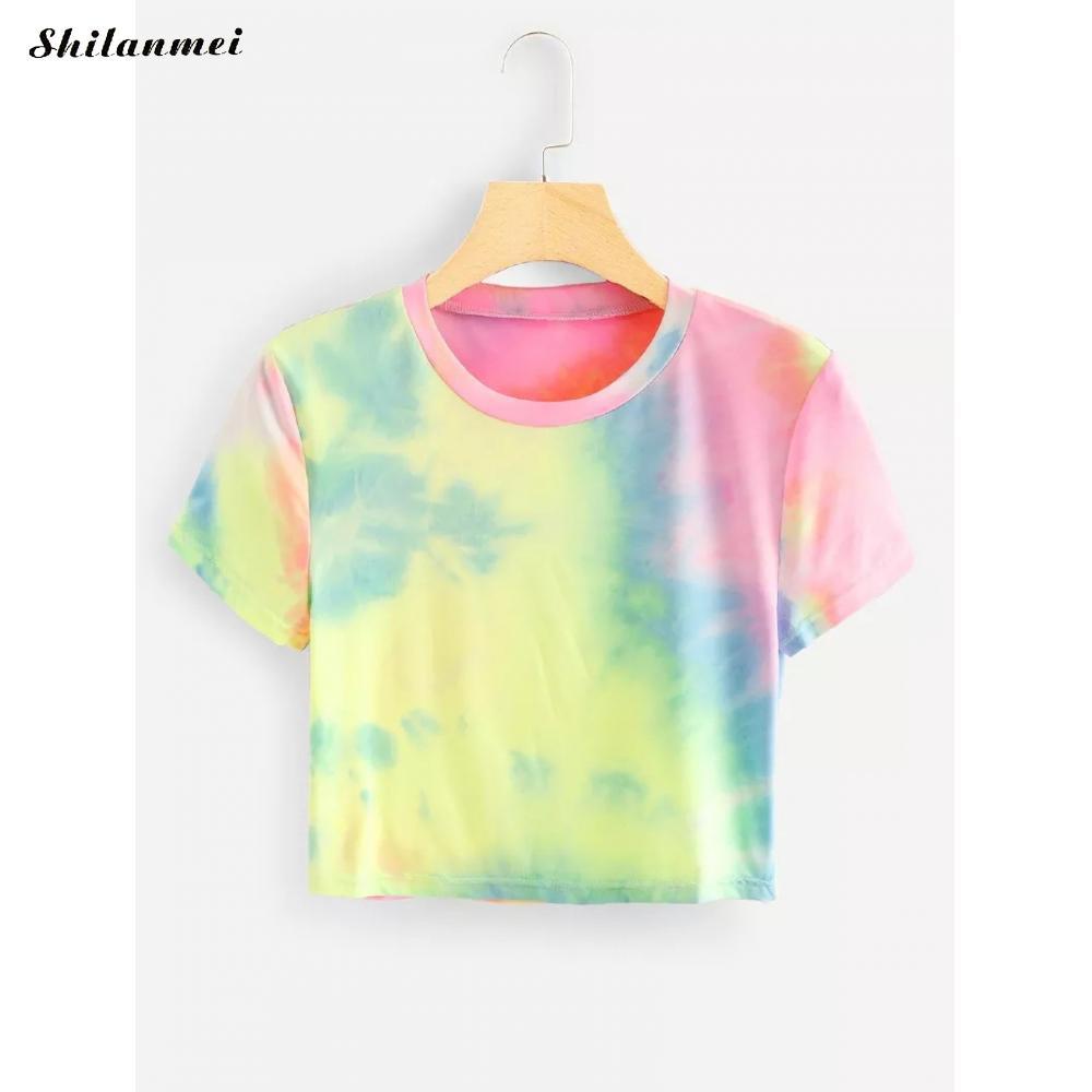 Tie Dye T-Shirts Women Summer O-Neck Crop Tops Women Fashion Oversize Tee Short Sleeve Casual T Shirts Streetwear Hippie Tshirts