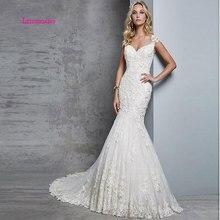 LEIYINXIANG New Arrival Popular Bride Dress Wedding Vestido De Noiva Sereia Robe Sexy Mermaid Appliques Zipper Sweetheart