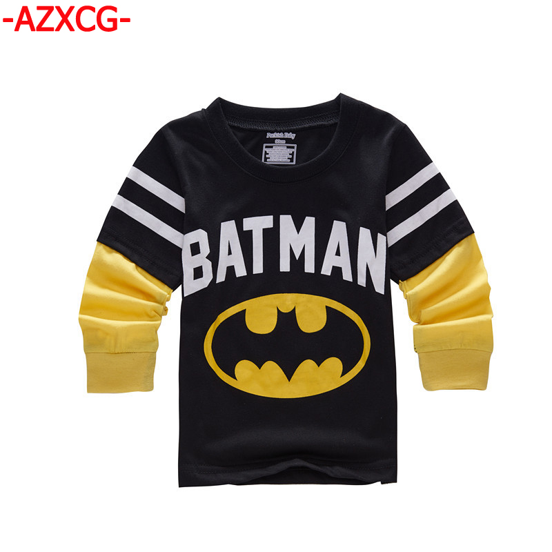 2-7Years Children Batman Printing T-shirt 2018 Brand New Children Long Sleeve Tops Kids Superman T shirt Baby Boy Cartoon Shirt 2017 baby new batman printing clothes boy cartoon t shirt girl 9 colors t shirt children short sleeve tee tops for kids acy031