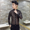 Men Lace Shirt  2017 New  Men See Through shirt Party Prom transparent shirt Sexy Long Sleeve Chemise Homme Baroque Shirt