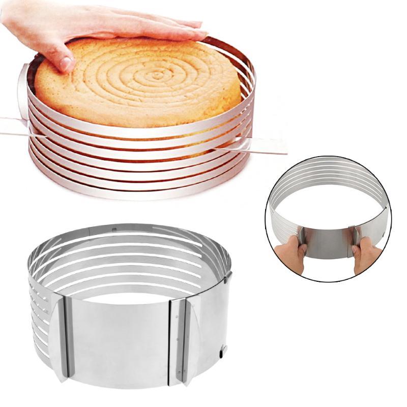 6 capas cocina DIY cake cortador de pan nivelador slicer cutting fixator herramientas ajustable metal círculo cake slicer Dispositivo de molde