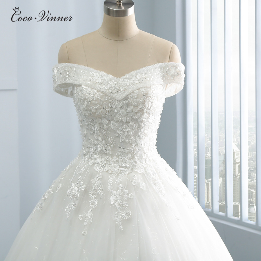 Beatiful Embroidery Appliques Princess Wedding Dresses 2019 pearls Beads V Neck Plus Size Arab Wedding Dress Bridal Gown WX0109