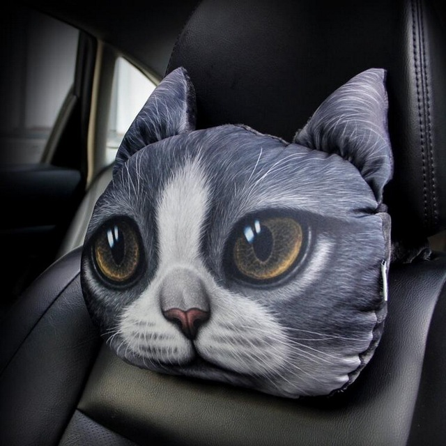 1 PCS DIY car styling New Polyester 3D lifelike cartoon doge dog and cat car headrest cover case for AUDI A6L parts accessories