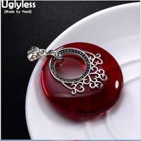 Uglyles Real Solid 925 Sterling Silver Women Luxury Gemstone Garnet Pendant No Necklace Round Marcasite Thai Silver Fine Jewelry