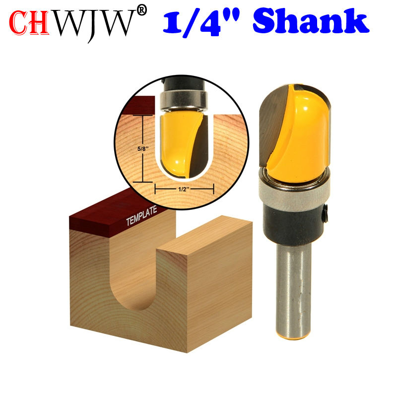 """1pc 1/4"""" Shank Round-Nose Plunge Router Bit - Shank Bearing - 1/2""""W x 5/8""""H For Woodworking Cutting Tool"""