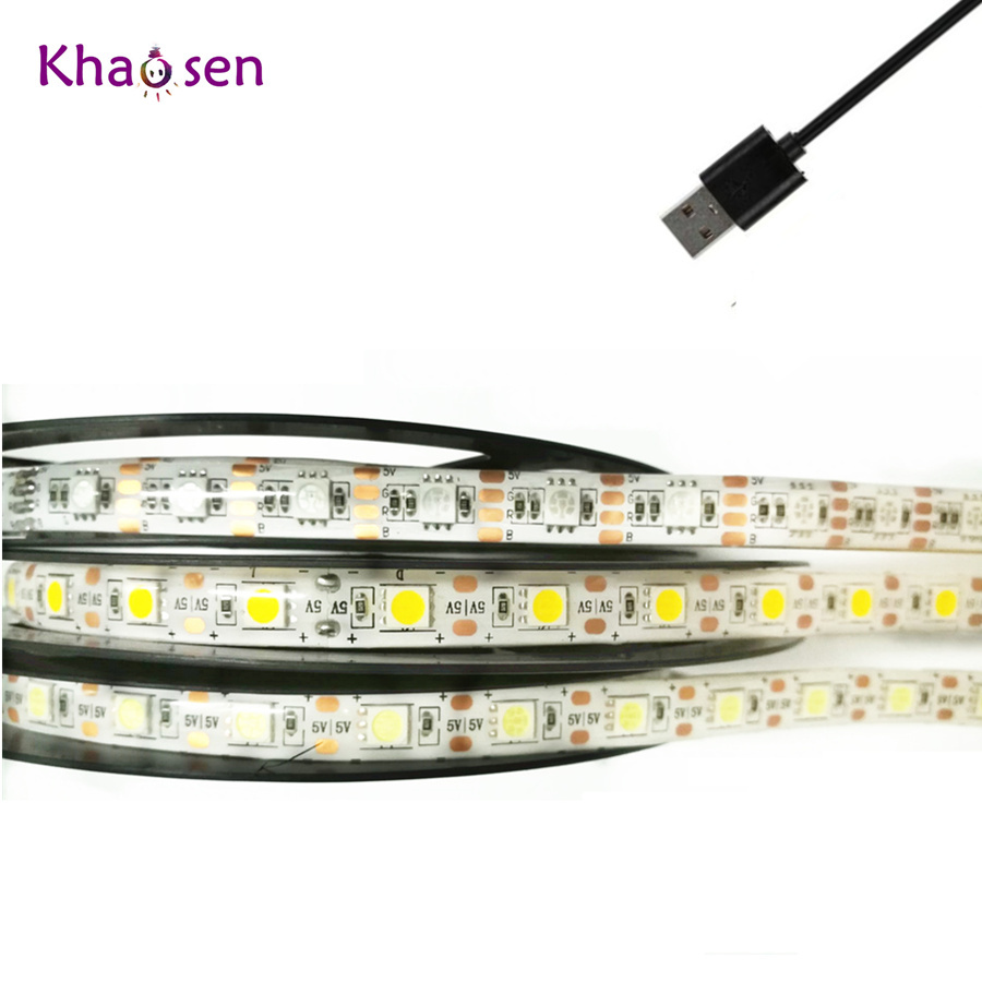 5V RGB LED Strip Light With USB Plug 5050 SMD Warm White Flexible Ribbon Waterproof Led Tape Lamp RGB With Remote Controller
