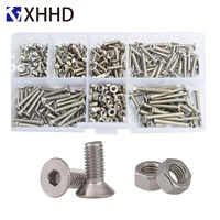 Hex Flat Socket Head Cap Screw Metric Thread Countersunk Hexagon Allen Bolt Nut Set Assortment Kit Box 304 Stainless Steel M3