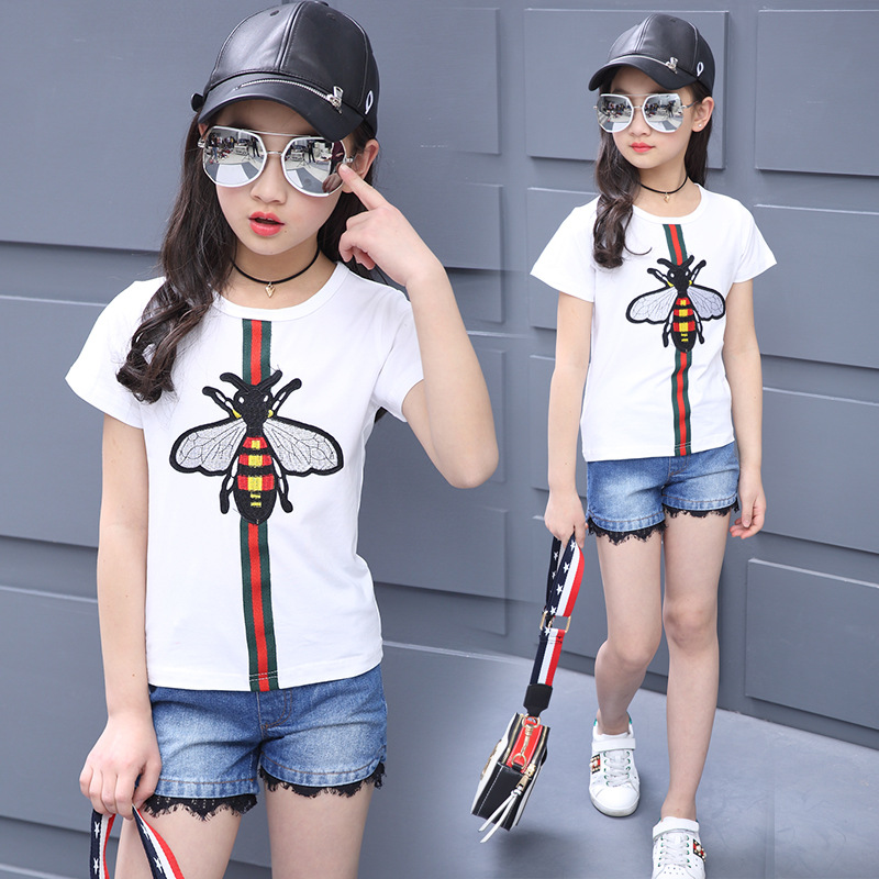Casul Girls T Shirt Shorts Two Sets Lace Jeans Shorts Pants Summer Top Tee White T Shirt Pure Cotton Butterfly Cartoon Clothes guipure lace panel shorts