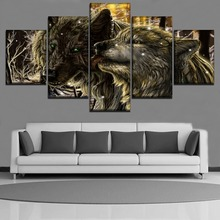 Wall Art Canvas Paintings Home Decorative Framework For Living Room 5 Pieces Animals Wolf Modular Pictures HD Printed Poster