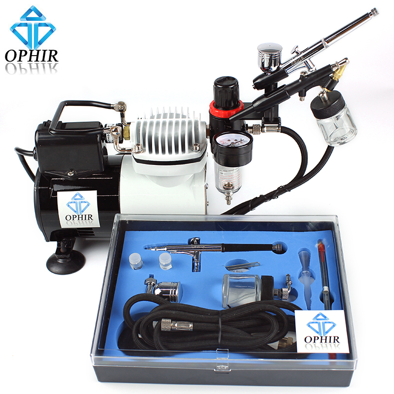 OPHIR Pro AirBrush Compressor Air Brush Kit for Temporary Tattoo Body Paint_AC114+AC004A+AC071+AC074 ophir pro 2x dual action airbrush kit with air tank compressor for tanning body paint temporary tattoo spray gun  ac090 004a 074