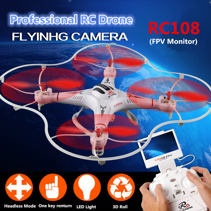 Professional rc quadcopter RC108 2.4G 4ch 6axis headless mode auto-return 5.8g FPV monitor WIFI FPV rc drone toy with HD camera wltoys v686g 4ch 5 8g fpv real time transmission 2 4g rc quadcopter with 2 0mp camera headless mode auto return function us plug