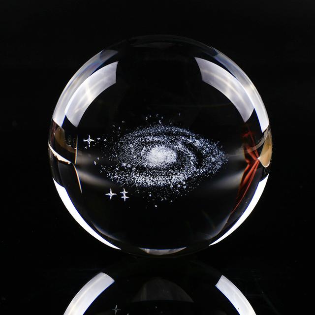 Galaxy 3D Miniatures Crystal Ball Laser Engraved Quartz Glass Ball