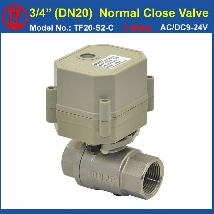 AC/DC9-24V 5 Wires DN20 Water Electric Valve Normal Close With Signal Feedback 2 Way BSP Or NPT Thread 3/4'' Stainless Steel ac110 230v 5 wires 2 way stainless steel dn32 normal close electric ball valve with signal feedback bsp npt 11 4 10nm
