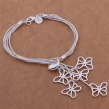 Fashion Hot Sell Butterfly Shaped Bracelet Jewelry Brand New Silver Color Bracelet Wedding Party Jewelry For Women Gift(China)