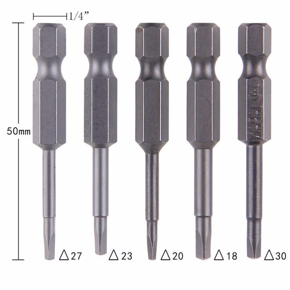 5 pçs/set anti deslizamento triângulo magnético cabeça chave de fenda bit 1/4