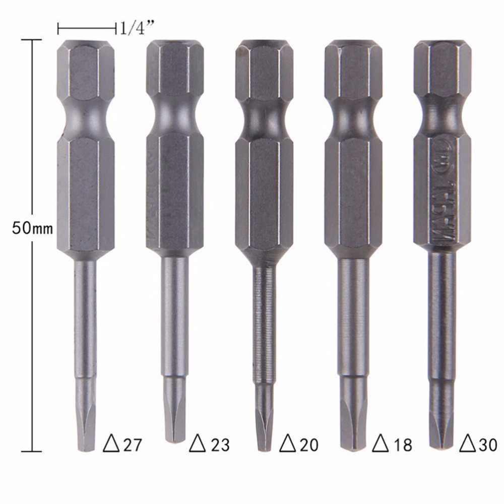 """5 Teile/satz Anti Slip Magnetische Dreieck Kopf Schraubendreher Bit 1/4 """"S2 Stahl Hex Schaft Elektrische Power Werkzeug Zubehör 50mm"""