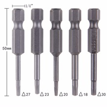 5PCS S2 Steel Electric Screwdriver Bit Set Bits Hex Shank Magnetic Alloy For Cross Head 50mm 1/4 inch Wholesale