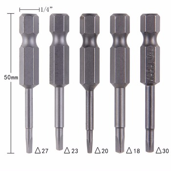 5Pcs/Set Anti Slip Magnetic Triangle Head Screwdriver Bit 1/4 S2 Steel Hex Shank Electric Power Tool Accessories 50mm
