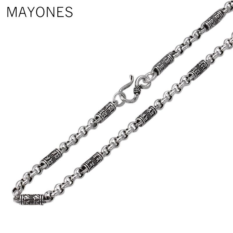 6 MM Width925 collier en argent Sterling hommes bijoux 100% S925 solide Thai argent croix chaîne colliers femmes fabrication de bijoux