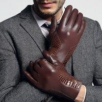 ผู้ชายถุงมือหนังแท้ชายแนวโน้มแฟชั่นฤดูใบไม้ร่วงฤดูหนาวถักเรียงรายลายหนังงูถุงมือหนังแ...