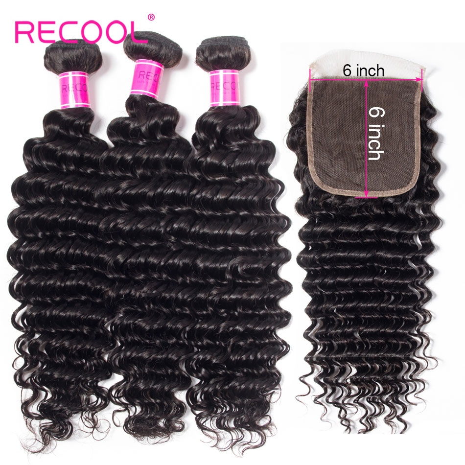 Recool Deep Wave Bundles With Closure Human Hair 3 Bundles With 6X6 Lace Closure Remy Brazilian