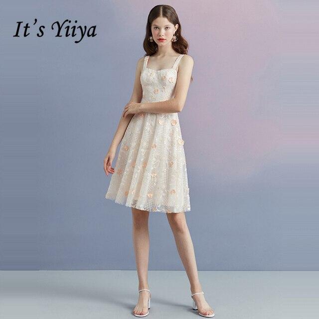 It s YiiYa Cocktail Dress 2018 Spaghetti Strap Flower Lace Party Fashion  Designer Elegant Short Cocktail Gowns 4f98ddd3abf7