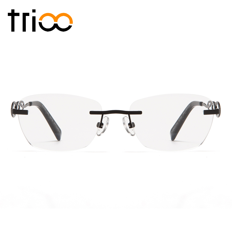TRIOO Senza Montatura Occhiali Da Vista per le donne Bow Tie Design Miopia Occhiali Occhiali Da Vista In Metallo Leggero Spectalces Clear Lens