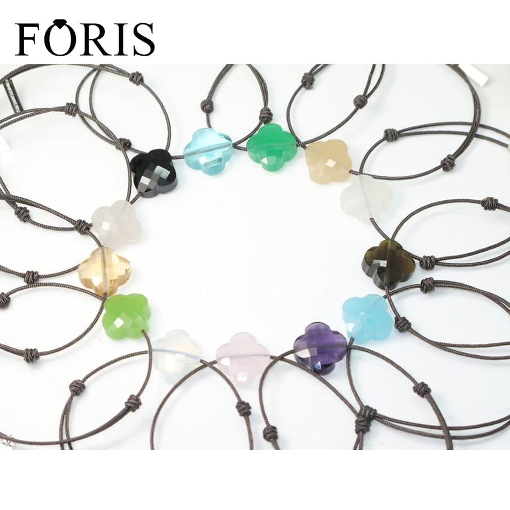 FORIS merk sieraden bruin touw 925 sterling zilveren tags steen armbanden voor vrouwen 11 kleuren beste verkopen verrassing prijs pb024