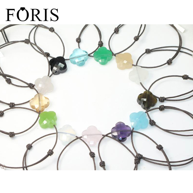 FORIS Brand jewelry Brown Rope 925 Sterling Silver Tags Stone Bracelets For Women 11 Colors Best Sell Surprise Price PB024