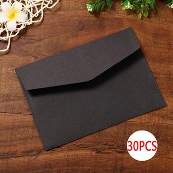 DELVTCH 30 unids/set negro papel artesanal blanco sobres Vintage estilo Retro para oficina escuela tarjeta Scrapbooking regalo