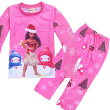 Купить с кэшбэком 2018 New Girls Moana Sleepwear Vaiana Costume Pajamas Christmas Pyjama Kids Girl Pijamas Long Sleeve T-shirt+Print Clothing Set