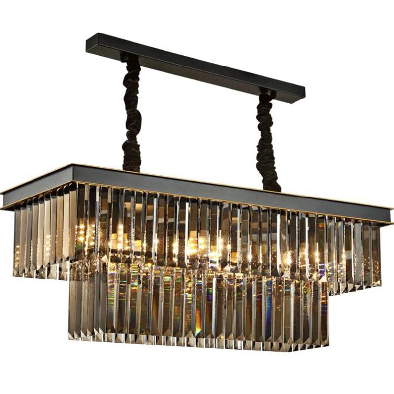 American classic crystal glass tube LED pendant lamp light rectangular square foyer living dining room ceiling