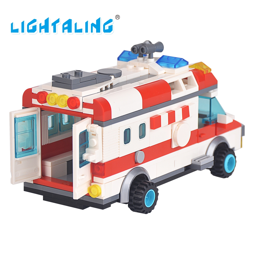 Lightaling Mini Ambulance Nurse Doctor Toys Figure Building Blocks Toys Kids Christmas Gifts Playmobil