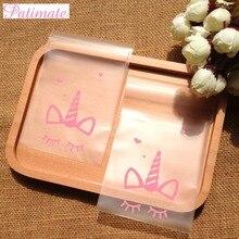 PATIMATE 100 pc galleta caramelo bolsa de bolsa regalo de la fiesta de cumpleaños de Regalo boda favores caja de regalo de plástico decoración de la boda para unicornio fiesta