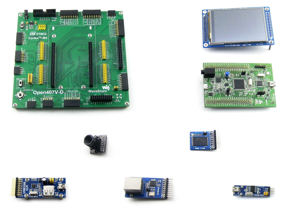 Parts Open407V-D Package A=STM 32 Board,ST Original STM32F4DISCOVERY/STM32F407G-DISC1,STM32F407VGT6+3.2' 320x240 Touch LCD+8 Mod цена