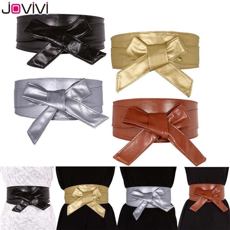 Faux Leather Self Tie Wrap Obi Waist Belt Women/'s Wide Lace 2 Style