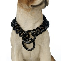 Classic Black Color Dog Collar Choker Necklace 19mm Wide Curb Link Chain 14 28 Inches Customized Stainless Steel Jewelry