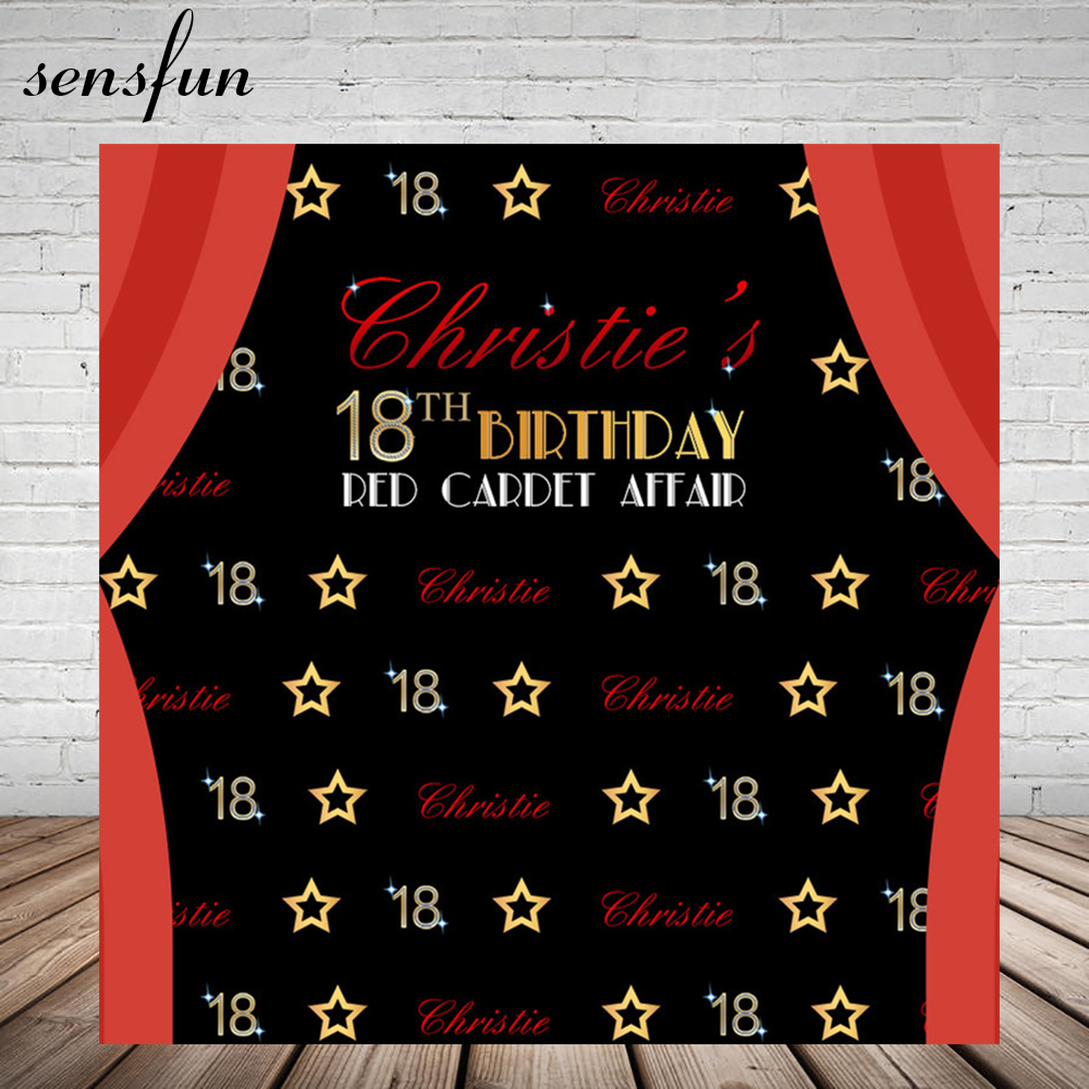 US $12 99 20% OFF|Sensfun Happy 18th Birthday Red Curtain Gold Stars Luxury  Backdrop Custom Name Original Design Backgrounds For Photo Studio-in
