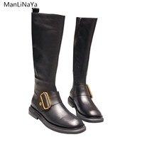 2019 новые высокие сапоги, высокие сапоги, осенне зимние кожаные женские Ботинки martin на молнии с ремешком и пряжкой, байкерские ботинки на пло