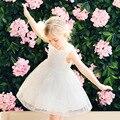 Novas meninas vestido de verão 2017 crianças de moda vestido de renda floral lining criança vestido de baile vestido de crianças vestidos de malha de algodão, 3-14y
