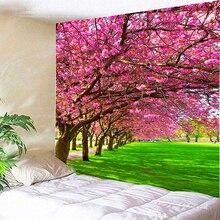 Rosa Sakura Avenue Vintage tela psicodélica tapiz colgante de pared de poliéster fino sofá manta de pared artística alfombras chal de yoga Mat