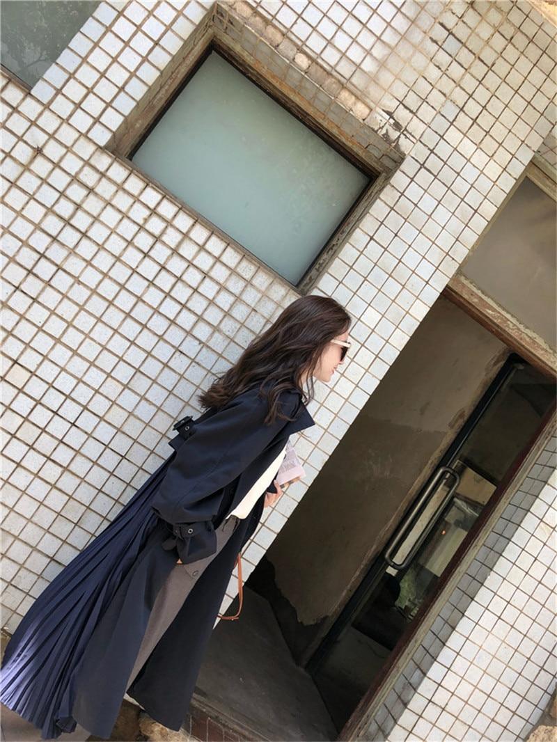 "British style Long Sleeves Autumn pleated coats women""s Long sleeve windbreaker overcoats abrigo mujer 9"