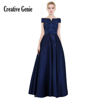 Woman Dress Elegant Evening Floor Length 2018 New Satin Lace Special Occasion Dresses Slim Thin Navy Blue Long Evening Gowns